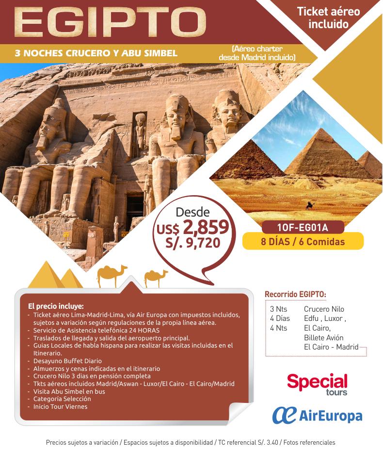 Egipto maravilloso con aéreo, 3 noches de crucero y Abu Simbel con Carrusel travel y Special Tours