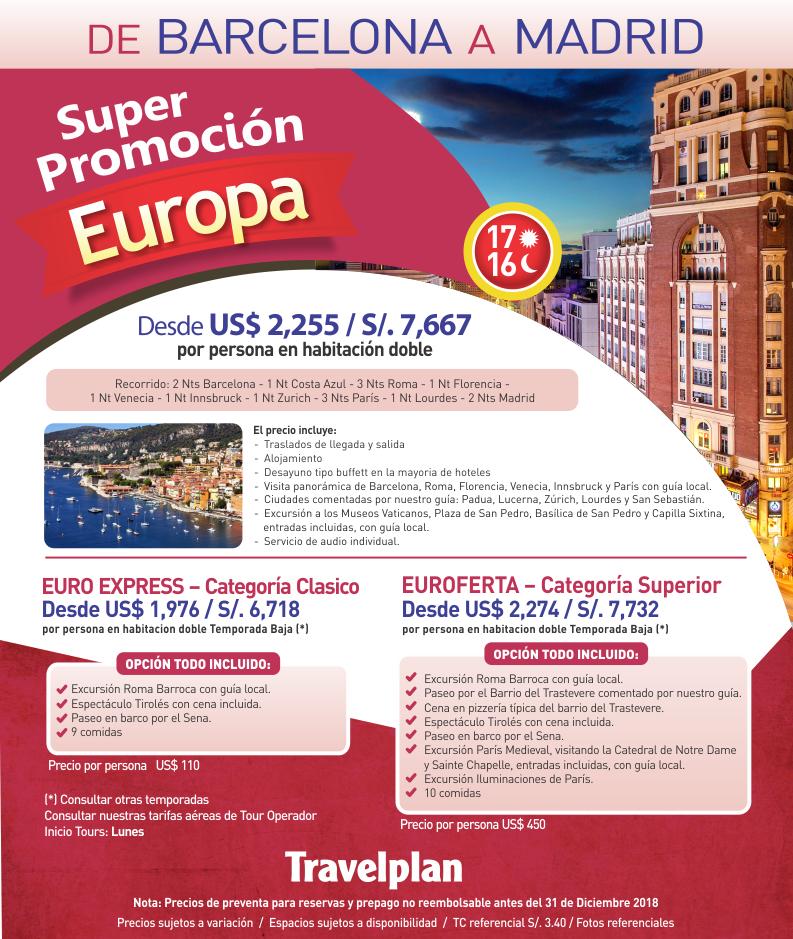 Súper promoción Europa Travelplan con carrusel travel