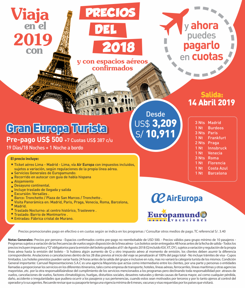 Gran Europa turista en abril 2019 con Carrusel travel y Europamundo