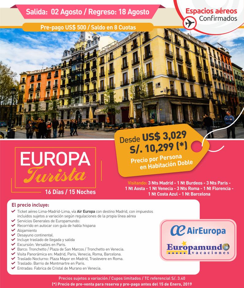 Europa Turista agosto 2019 con Carrusel Travel y Europamundo