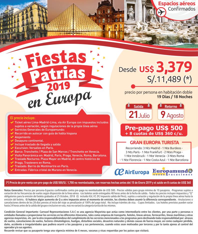 Fiestas patrias 2019 en Europa con Carrusel travel y Europamundo