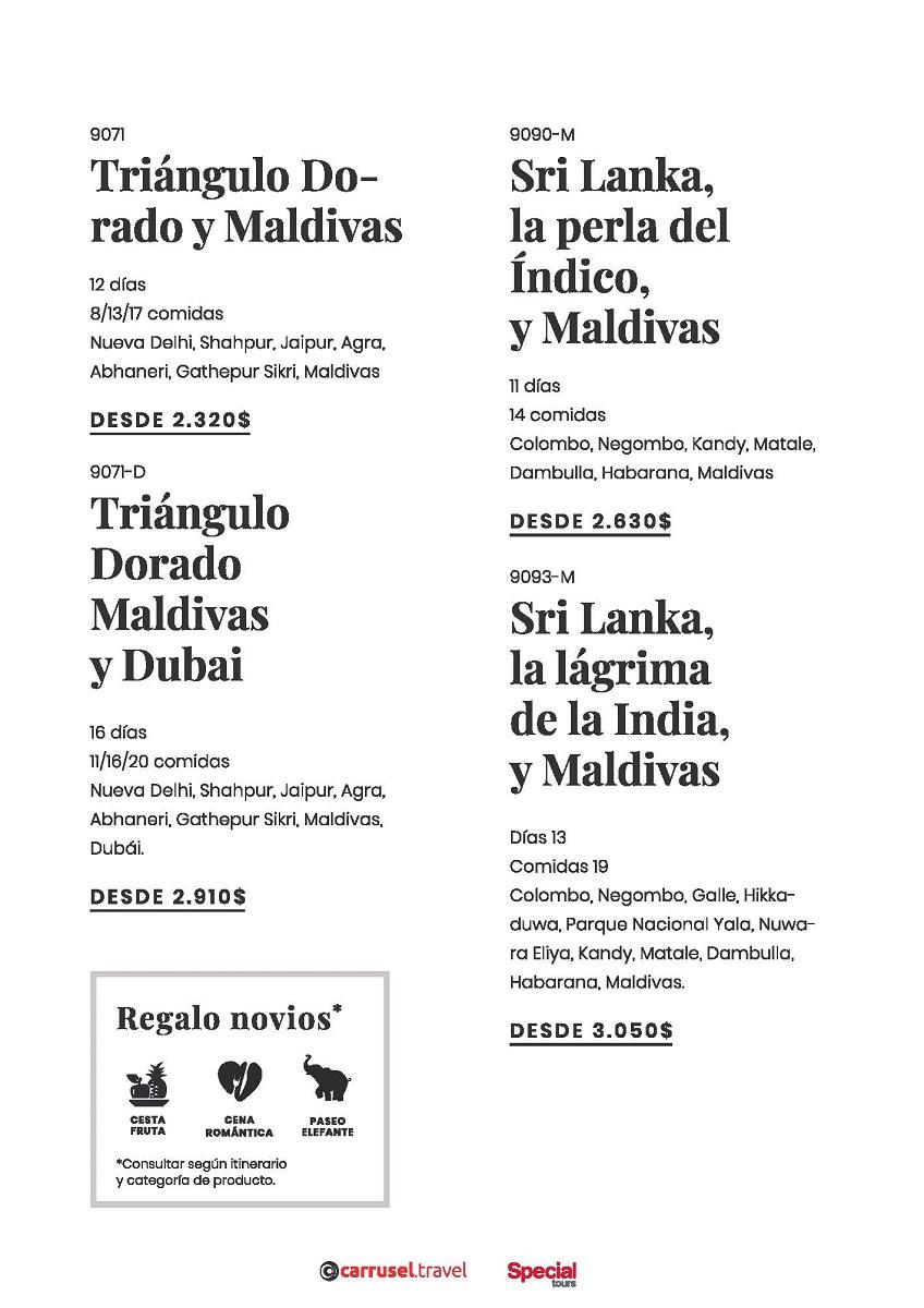 Vive tu luna de miel en Sri Lanka, India o Maldivas