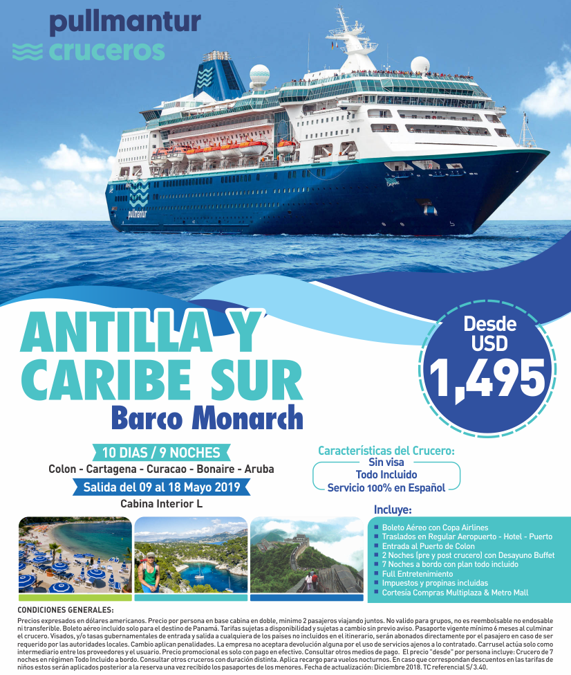 Antillas y caribe sur crucero barco monarch con carrusel travel